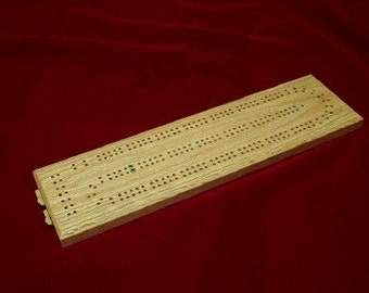 Cribbage Board  2 Player Continuous Track Solid Oak made by disabled vet - Price Reduced