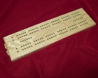 Cribbage Board  2 Player Oak w Raised Brass Peg Holes made by disabled vet