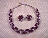 Vintage Purple Rhinestone Necklace & Earrings