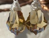 Sterling Silver Earrings. Swarovski crystal drop Earrings. Topaz earrings. Drop Earrings