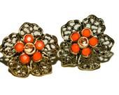 Filigree Flower Vintage Earrings. Post Earrings. Coral , antique Gold Earrings
