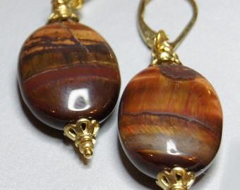 Red Tigereye Drop Earrings Gemstone Earrings Dangle Earrings