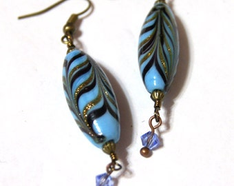 Lampwork earrings. Chandelier Blue Earrings, Dangle Earrings /Mother's Gift