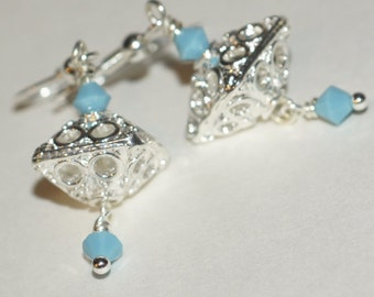Drop earrings,Geometric Earrings, Filigree Chandelier Earrings Swarovski Crystal Turquoise.