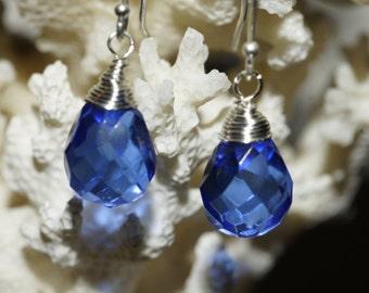 Blue Briolette Earrings Wire wrapped Earrings Something Blue Jewelry