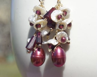 Red Pearl Earrings Birthstone Jewelry Chandelier Earrings Pearl And Garnet Earrings Cluster Earrings