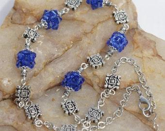 Tibetan Silver Blue Beaded Necklace, Handmade Tribal Jewelry. Jewelry set