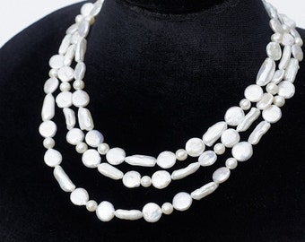 Freshwater pearl Multi Strand Necklace, Wedding necklace, Beaded Jewelry, bib necklace, statement necklace,