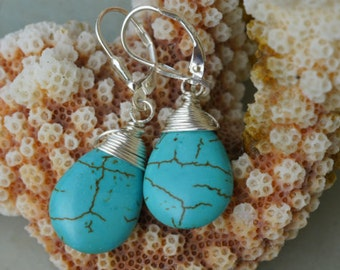 Mother's Day Gifts Sterling Silver Turquoise Drop Earrings, Tibetan Turquoise Earrings. Wire wrapped Turquoise Earrings.