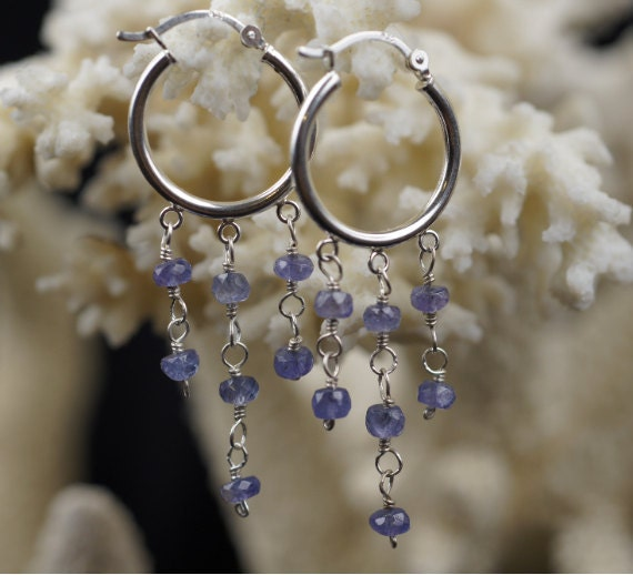 Sterling Silver Hoop Earrings, Tanzanite and Silver Earrings. Dangle Earrings