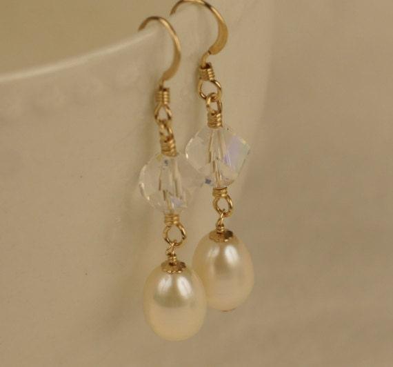 Clear Crystal Earrings Pearl Earrings, 14k Gold Filled Jewelry Pearl Dangle Earrings Gemstone Earrings