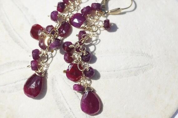 Cascade Earrings Genuine Ruby Earrings, 14K gold Chandelier. Long Gold Chandelier Earrings. Birthstone July