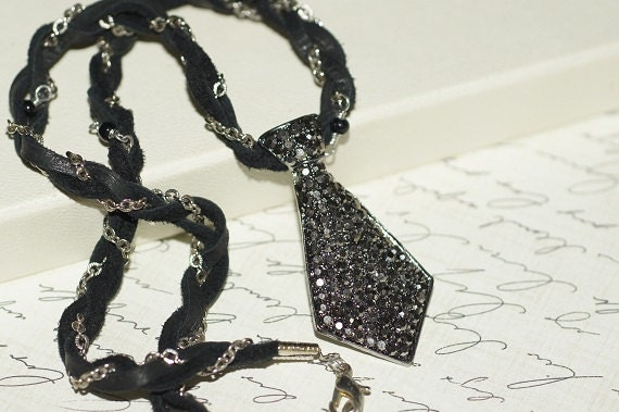 Necklace Pendants Black leather Cord neckalce.  Black and silver jewelry.