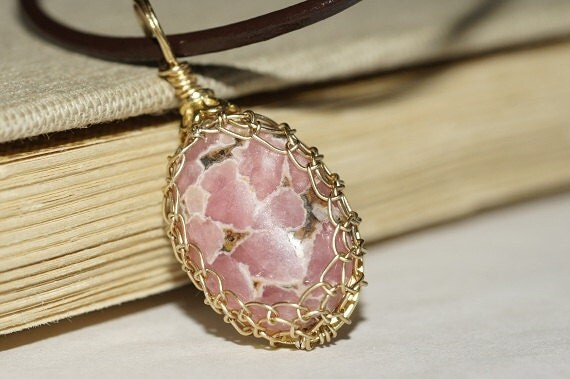 Rhodochrosite Wire Wrapped Pendant Natural Stone Wire Wrapped Pendant Birthstone Pendant