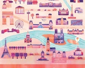 "Illustrated Paris Map, 16"" x 20"", Digital Print"