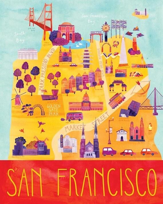 Items similar to Illustrated San Francisco Map