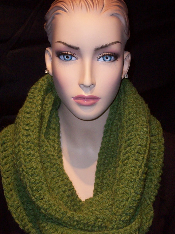 Green Crocheted Infinity  Scarf Adult Sized Unisex Olive Green