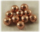 8mm Copper Beads, Completely Hand Made, 10 Each - Hammered Finish