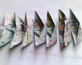 Recycled map origami sail boats, 11 cm. Set of 50.