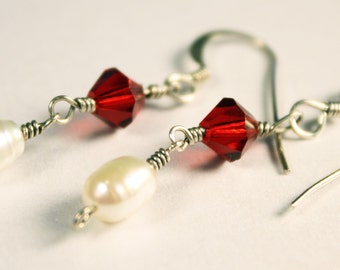 Pearl and red crystal sterling earrings