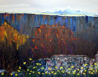 Original Oil Painting, Grand Canyon's Bright Angel Point w/San Francisco Peaks