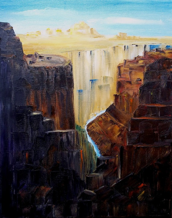 Original Oil Painting, 'The Grand Canyon's Inner Gorge'