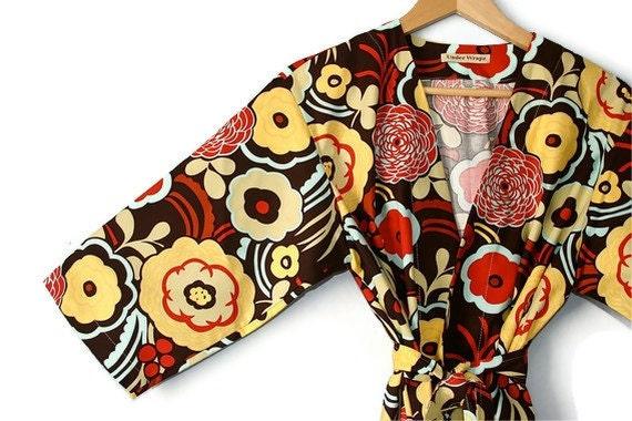 LAST CALL Kimono Robe. Dressing Gown. Bathrobe. Maternity Robe.  Mocha Red. Small or Medium Only. Knee Length.