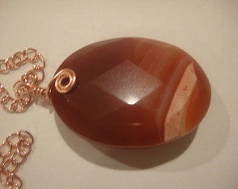 Wire Wrapped Faceted Carnelian Pendant