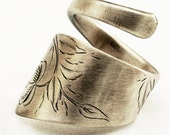 Spoon Ring with Hand Engraved Flowers in Sterling Silver, Handmade in Your Size (1462)