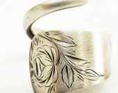 ON SALE Spoon Ring with Hand Engraved Flowers in Sterling Silver, Handmade in Your Size (1507)