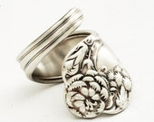 Spoon Ring Vintage Carnation Art Nouveau Sterling Silver, Handmade in Your Size (1907)