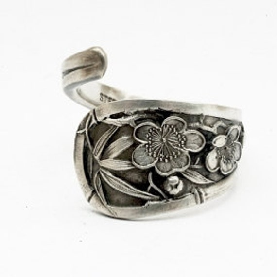 Art Nouveau Wild Rose Floral Sterling Silver Spoon Ring , Handmade in Your Size (388)