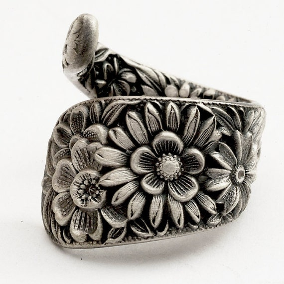 Nouveau Spoon Ring Floral Sterling Silver, Handmade in Your Size (769)