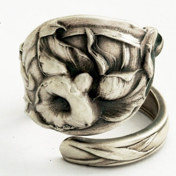 Exclusive Calla Lily Sterling Silver Spoon Ring, Handcrafted in Your Size (1962)
