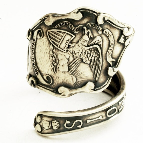 Spoon Ring  Sterling Silver Vintage Illinois Souvenir,  Handmade in Your Size (1720)