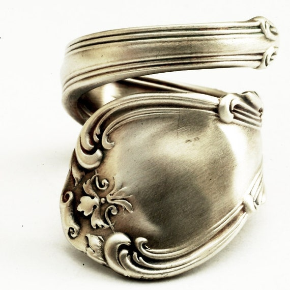 spoon ring unique organic scroll sterling silver