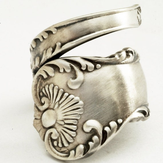 Spoon Ring Unique Victorian Organic Scroll Sterling Silver, Handmade in Your Size (1859)