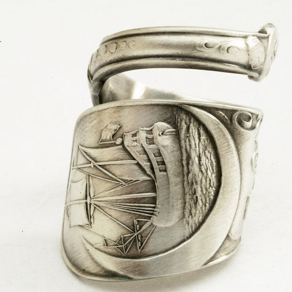 Spoon Ring Troy Classic Sailing Ship Sterling Silver, Handcrafted in YOUR Size (1841)