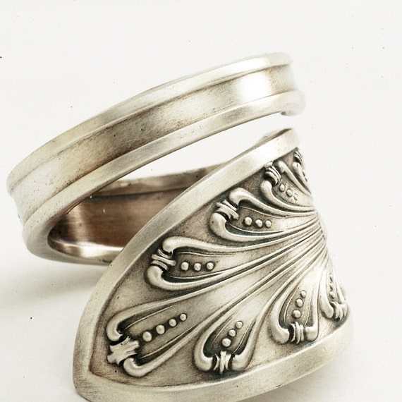 spoon ring unique deco pattern sterling silver by spoonier