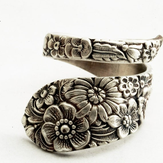 Antique Stieff Floral Sterling Silver Spoon Ring, Made in YOUR Size (1977)