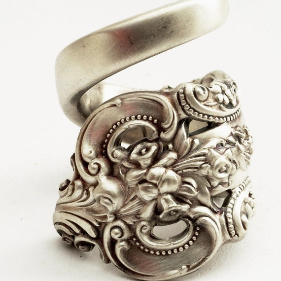 Spoon Ring Unique Victorian Organic Scroll Sterling Silver, Handmade in Your Size (2083)