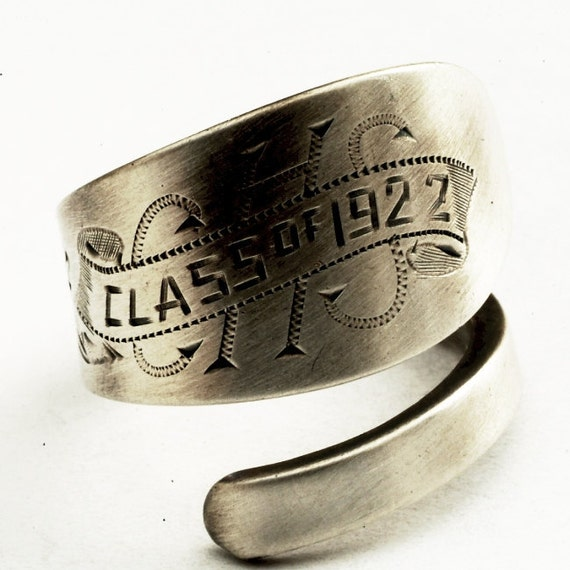 ON SALE Spoon Ring Commemorative Class of 1922 made of Sterling Silver, Made in Your Size (2064)