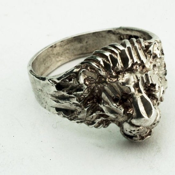 Vintage Victorian Lion Head Sterling Silver Ring, Size 6.5
