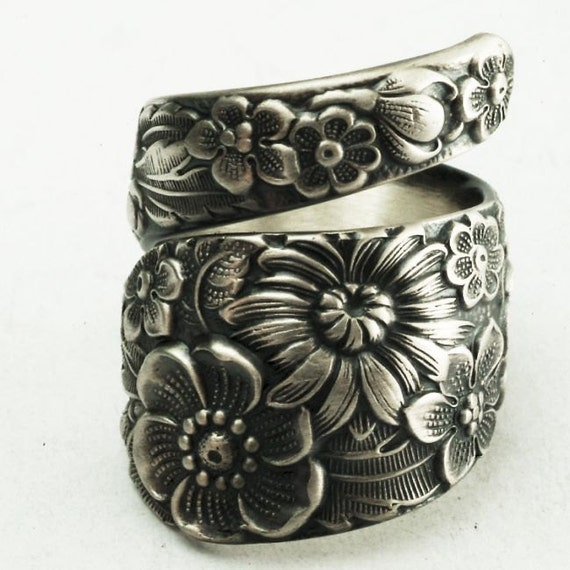 Antique Stieff Floral Sterling Silver Spoon Ring, Made in YOUR Size (2171)