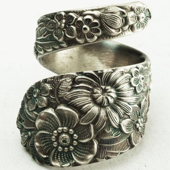Antique Stieff Floral Sterling Silver Spoon Ring, Made in YOUR Size (2174)