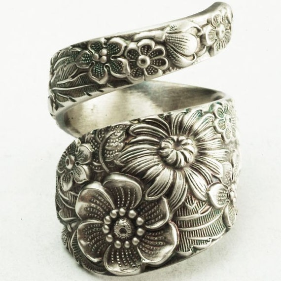 Antique Stieff Floral Sterling Silver Spoon Ring, Made in YOUR Size (2177)