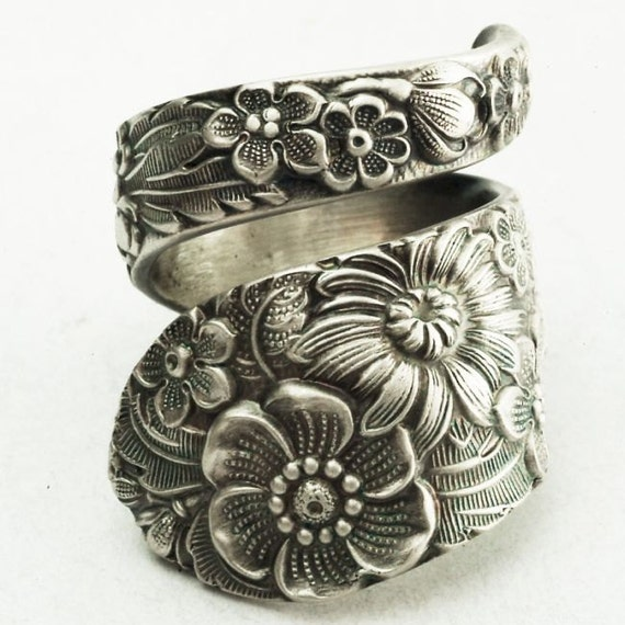 Antique Stieff Floral Sterling Silver Spoon Ring, Made in YOUR Size (2178)