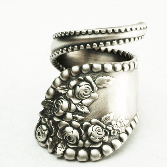 Spoon Ring Vintage Victorian Rose Sterling Silver Ring, Handmade in Your Size (2212)