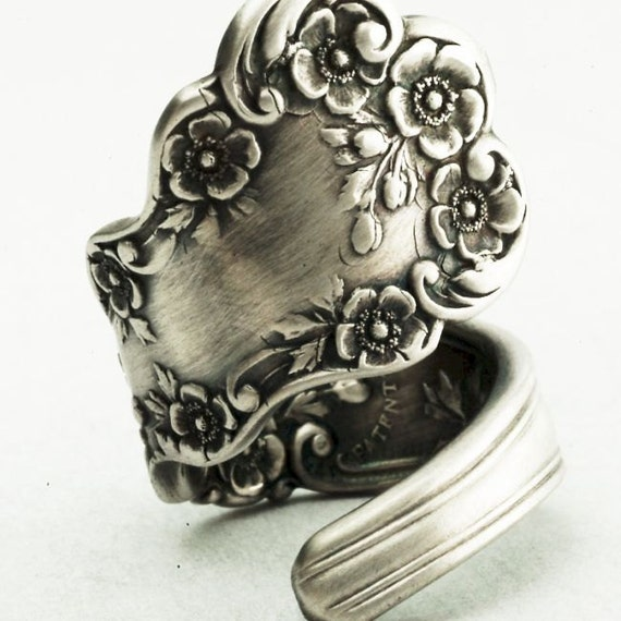 Vintage Buttercup Floral Sterling Silver Spoon Ring, Handmade in Your Size (2222)