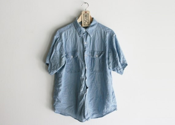 "Vintage Weathered Light Blue Cotton ""Big Yank"" Union Made Work Shirt"